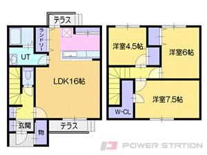 小樽市新光1丁目1テラスハウス間取図面