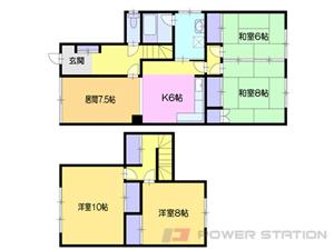 小樽市花園3丁目1一戸建貸家間取図面
