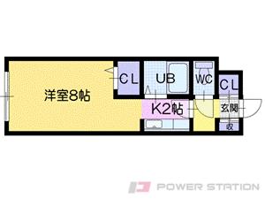 桑園1Kマンション図面