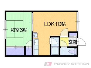 西28丁目1LDKアパート図面