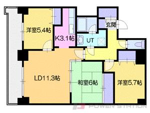 バスセンター前3LDK分譲リースマンション図面