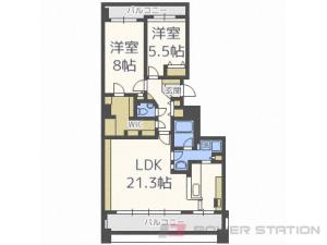 西28丁目2LDK分譲リースマンション図面