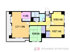 札幌市中央区北2条西25丁目0賃貸マンション間取図面