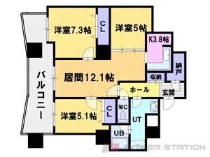 札幌市中央区北1条西26丁目0分譲リースマンション間取図面