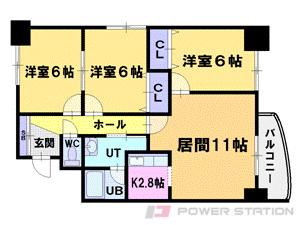 札幌市中央区北4条西24丁目0賃貸マンション間取図面