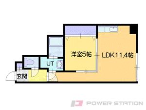 西11丁目1DKマンション図面