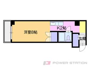 バスセンター前1Kマンション図面