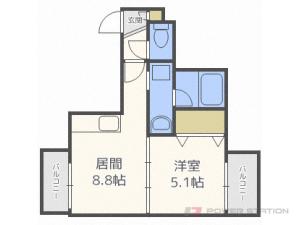 西28丁目1LDKマンション図面