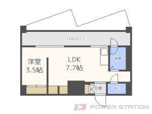 円山公園1DK分譲リースマンション図面