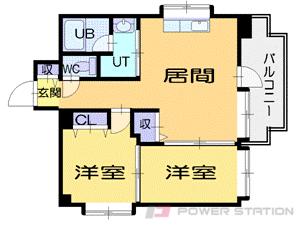 円山公園1LDKマンション図面
