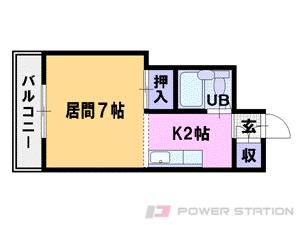 円山公園1Kマンション図面