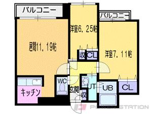 西18丁目2LDKマンション図面
