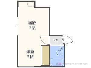 西11丁目1DKアパート図面