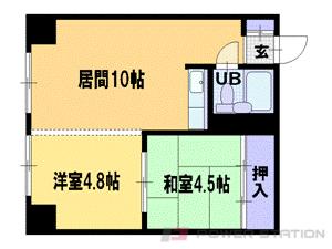 大通1LDK分譲リースマンション図面