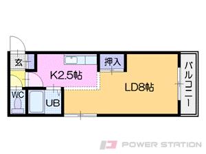 円山公園1DKマンション図面