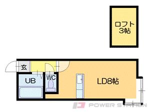 札幌市中央区南6条西21丁目1賃貸アパート間取図面