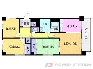 西線6条3LDK分譲リースマンション図面