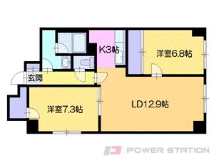 札幌市中央区南6条西14丁目0賃貸マンション間取図面