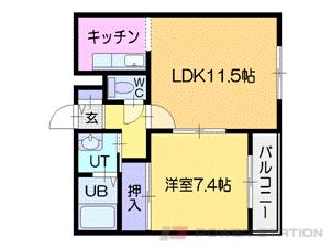 西11丁目1LDKマンション図面