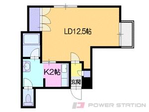 すすきの1Kマンション図面