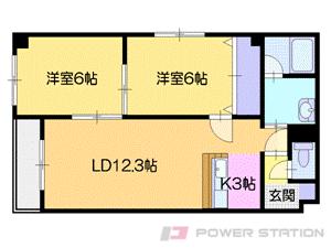 札幌市中央区南8条西20丁目0賃貸マンション間取図面