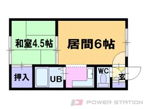 札幌市中央区南10条西14丁目1賃貸アパート間取図面