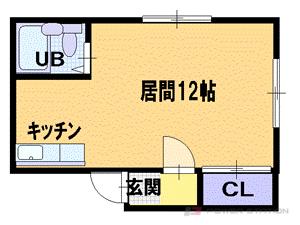 札幌市中央区南9条西8丁目1賃貸アパート間取図面