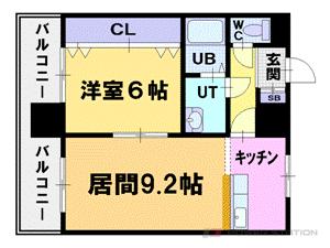 札幌市中央区南11条西6丁目0賃貸マンション間取図面