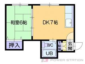 幌平橋1DKアパート図面