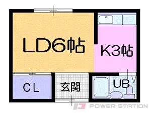 行啓通1Kアパート図面