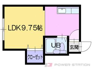 中島公園通1DKマンション図面