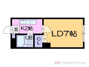 中島公園通1Kマンション図面