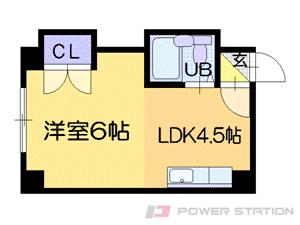 幌平橋1DKマンション図面