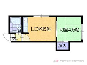 札幌市中央区南16条西9丁目1賃貸アパート間取図面