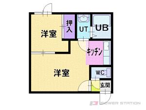 ロープウェイ入口1LDKアパート図面