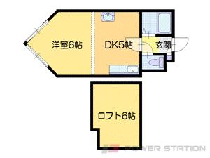 ロープウェイ入口1DKマンション図面
