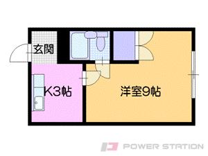 石山通1Kマンション図面