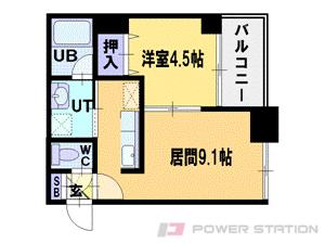 札幌市中央区北2条東2丁目1分譲リースマンション間取図面