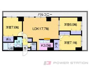 札幌市中央区南6条西9丁目1賃貸マンション間取図面