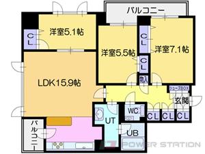 西11丁目2LDKマンション図面