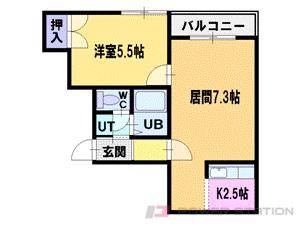 札幌市中央区界川2丁目1賃貸アパート間取図面