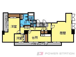 大通2LDKマンション図面