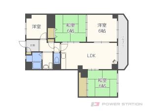 札幌市中央区宮の森1条15丁目1賃貸マンション間取図面