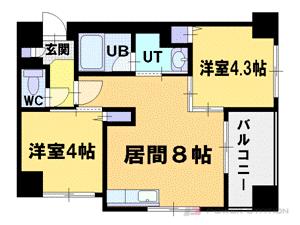 札幌市中央区北5条西23丁目0賃貸マンション間取図面