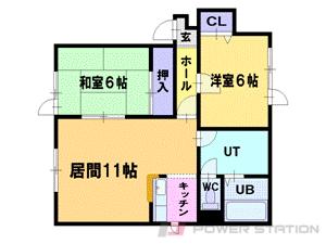 円山公園2LDKアパート図面