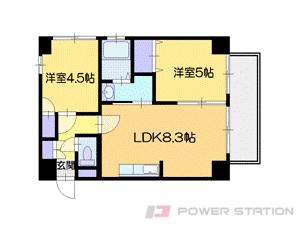 札幌市中央区北7条西12丁目1分譲リースマンション間取図面