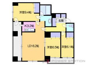 札幌市中央区南6条西12丁目1分譲リースマンション間取図面