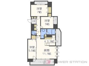 札幌市中央区北5条西25丁目0分譲リースマンション間取図面