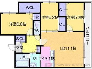 西線11条3LDKマンション図面