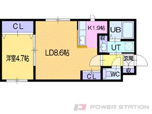グラマシー:3号室タイプ(1LDK)